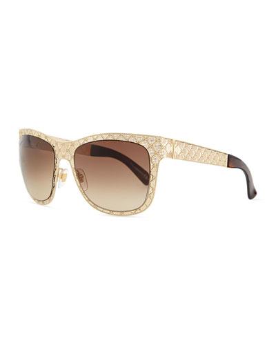 Mirrored GG Texture Sunglasses, Golden