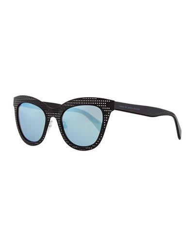 Laser-Cut Cat-Eye Sunglasses, Black