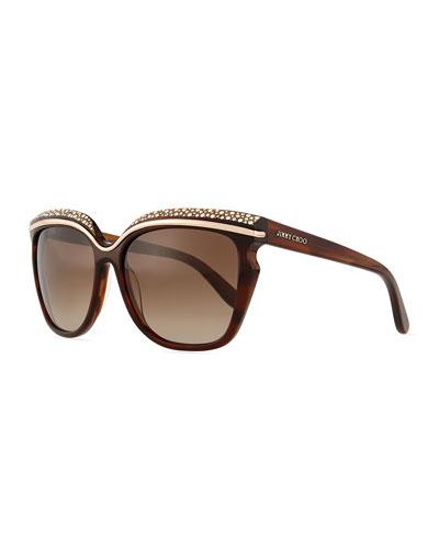 Sophia Embellished Sunglasses, Red/Brown