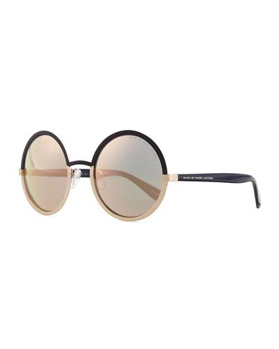 Colorblock Circle Sunglasses, Gray/Gold