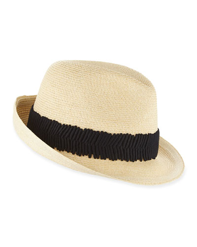 Max Wide Ruched Ribbon Hat, Natural/Black