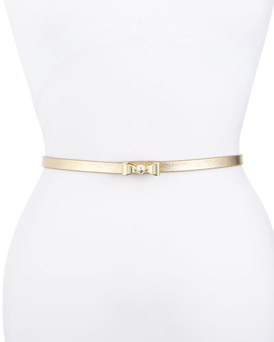 Metallic Leather Bow Belt, Gold