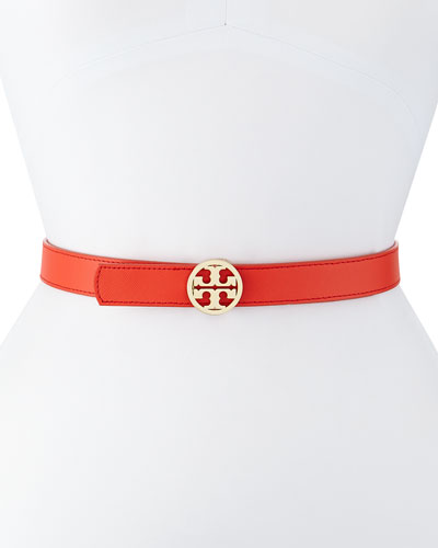 Reversible Saffiano Leather Logo Belt, Coral/White