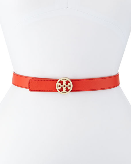 5c8956fbeb0 Tory Burch Reversible Saffiano Leather Logo Belt