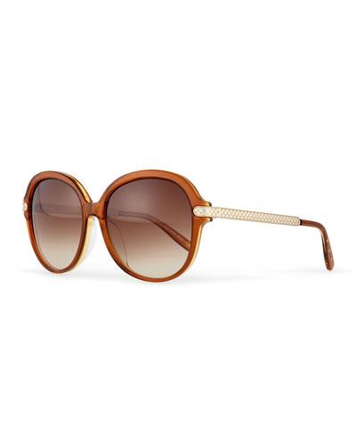 Uni Rounded Intrecciato Sunglasses, Brown/Yellow