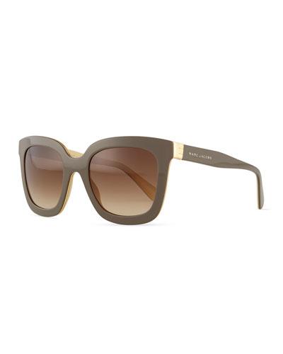 Plastic Square Sunglasses, Brown/Cream
