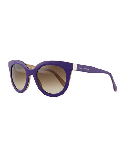 Rounded Cat-Eye Sunglasses, Purple/Brown