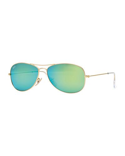 Aviator Sunglasses with Green Mirror Lens, Golden