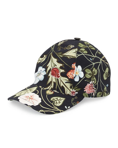 Flora-Print Baseball Hat, Black