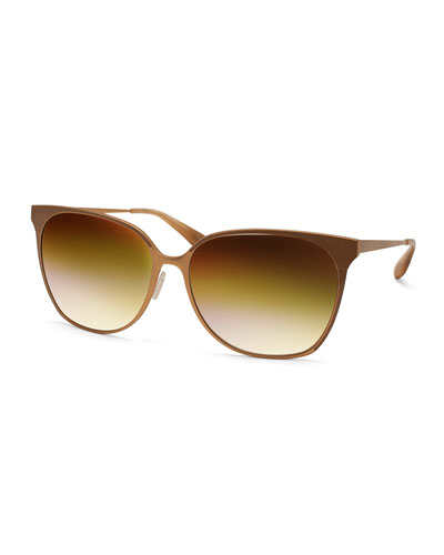 Universal Fit Edie Butterfly Sunglasses with Mirrored Lenses, Gold