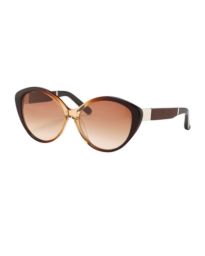 Ombre Cat-Eye Sunglasses, Brown