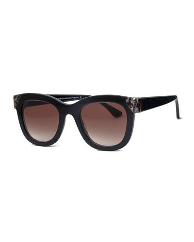 Chromaty Square Sunglasses, Black