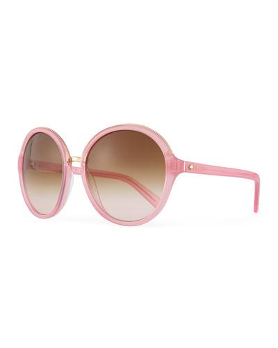 bernadette round sunglasses, pink