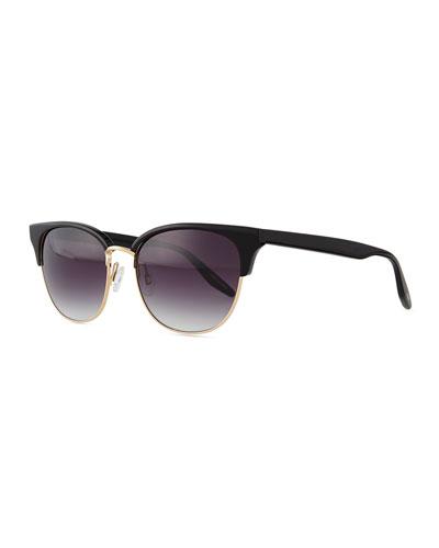 Camden Semi-Rimless Square Sunglasses, Black/Golden