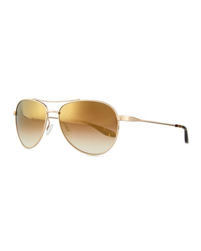 Lovitt Mirror Aviator Sunglasses, Golden