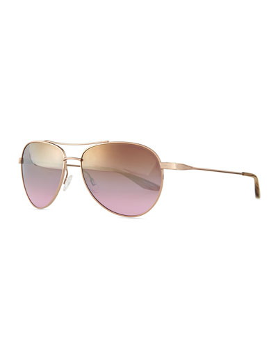 Lovitt Mirror Aviator Sunglasses, Rose Golden