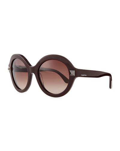 Rockstud Round Sunglasses, Rubin Brown