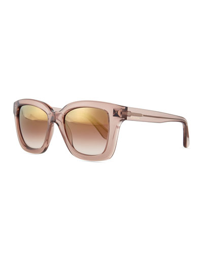 Rockstud Square Mirror Sunglasses, Nude