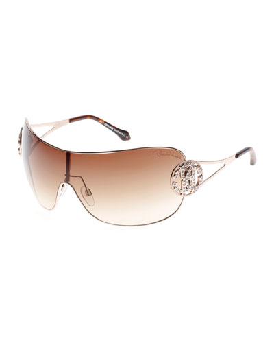 Shield Sunglasses with Crystal Monogram Logo, Rose Gold