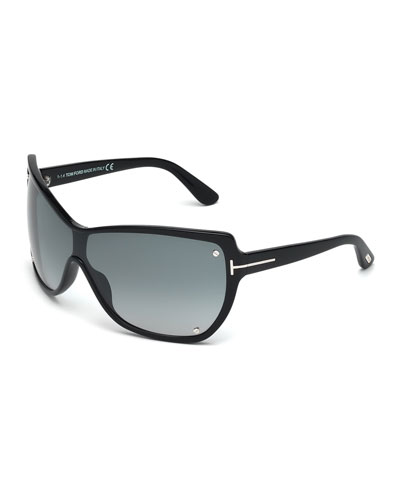 Ekaterina Shield Sunglasses with Screws, Black