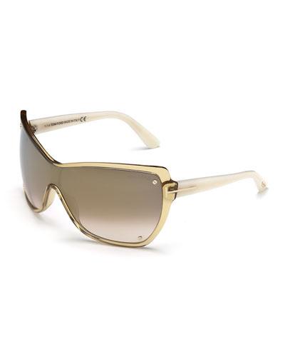 Ekaterina Shield Sunglasses with Screws, Beige