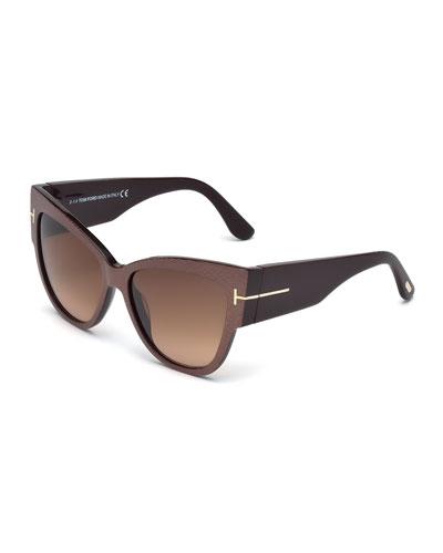 Anoushka Butterfly Sunglasses, Iridescent Brown