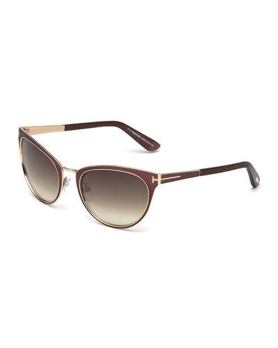 Nina Cat-Eye Sunglasses, Brown