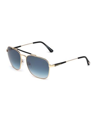 Edward Polarized Square Aviator Sunglasses, Black/Rose Gold