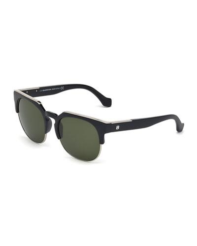 Semi-Rimless Square Sunglasses, Black