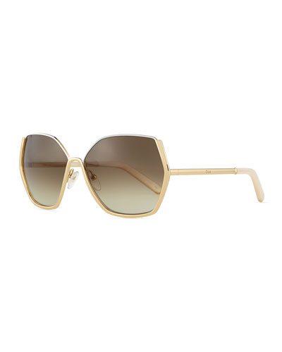 Universal Fit Danae Hexagon Butterfly Sunglasses, Gold/White