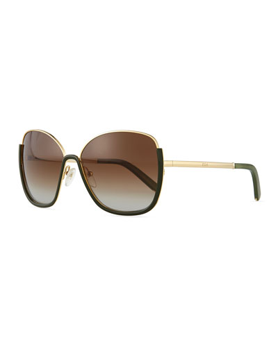 Danae Butterfly Sunglasses, Gold/Green