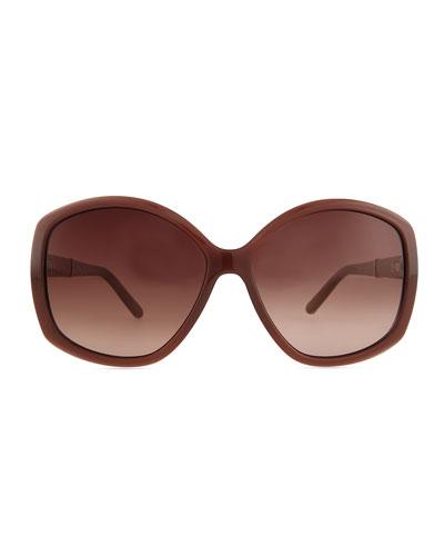 Daisy Oval Sunglasses, Light Brown