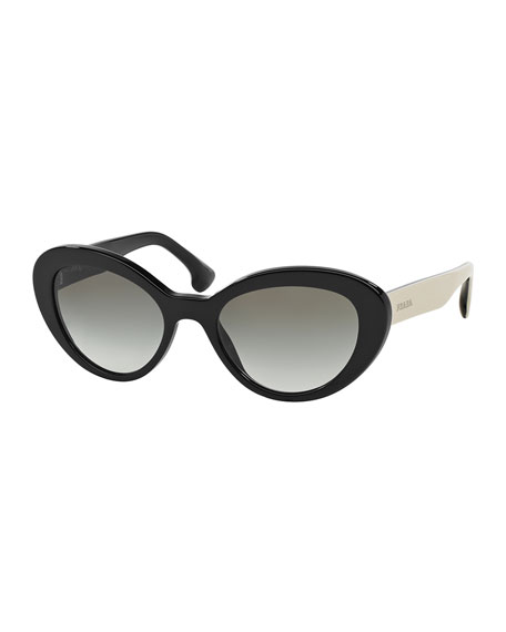 bbfd5e572575 Prada Thick Rim Oval Sunglasses, Black