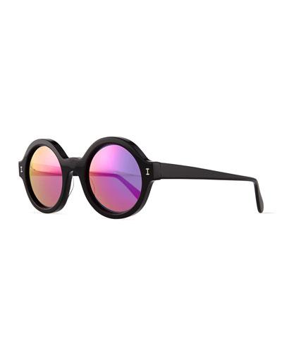 Frieda Round Mirror Sunglasses, Black/Pink