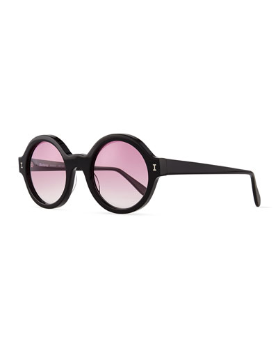 Frieda Round Mirror Sunglasses, Black/Purple