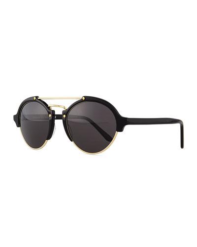 Milan II Round Mirror Sunglasses, Black/Gold