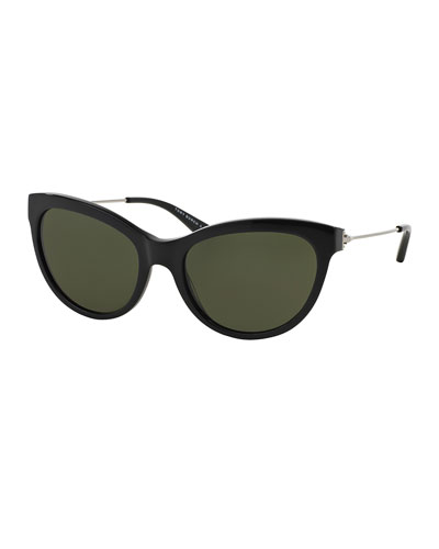Universal Fit Cat-Eye Sunglasses, Black/Silver