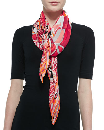 Tapestry-Pattern Scialle Scarf, Coral