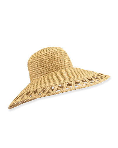 Maribel Cutout-Wide-Brim Hat, Natural