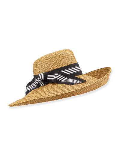 Socialite Stripe-Bow Hat, Natural/Black/White