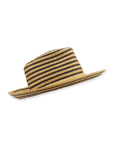 Birdie Two-Tone Fedora, Black/Natural