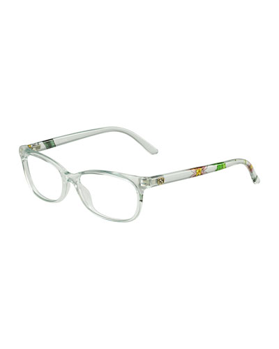 Square Floral-Arm Fashion Glasses, Clear