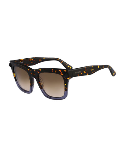 Tortoise Sunglasses with Rockstud Temple, Havana/Purple