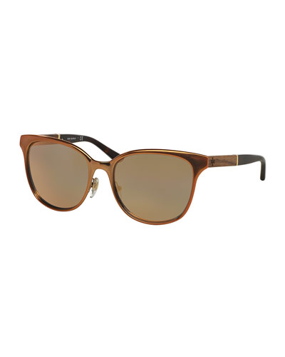 Wood-Temple Cat-Eye Sunglasses, Rose Gold