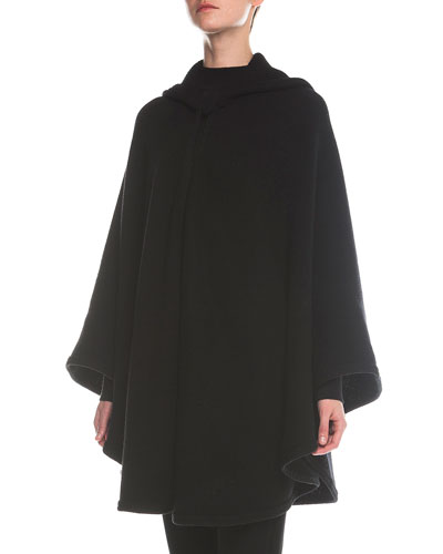 Hooded One-Button Cape, Black