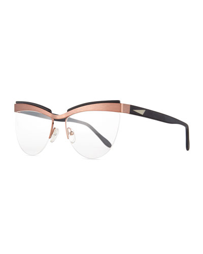 Buenos Aires Semi-Rimless Fashion Glasses, Rose Gold