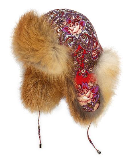 Adrienne Landau Paisley Floral Trapper Hat w Fox Trim 9d05e38fc0e6