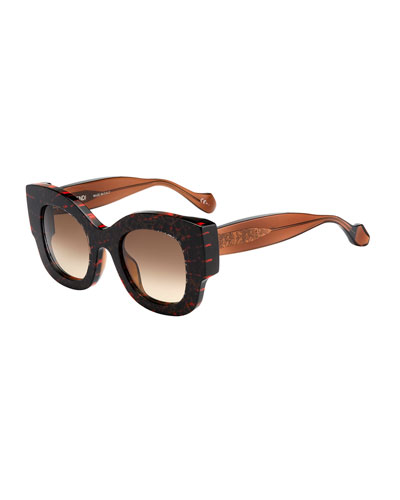 Silvy Square Geo-Print Sunglasses, Pink/Brown