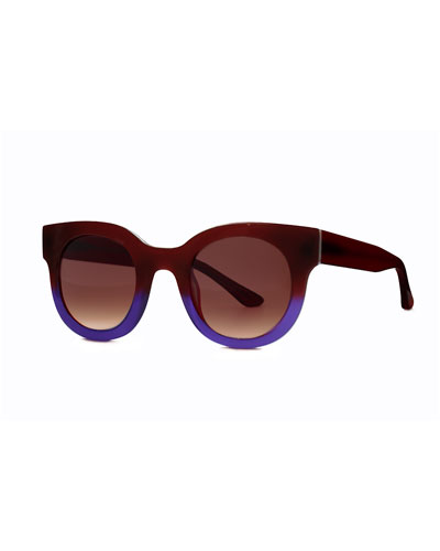 Celebrity Two-Tone Sunglasses, Burgundy/Blue