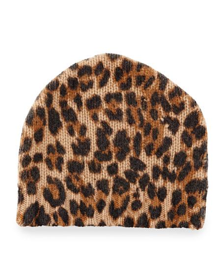 303bb99b99716 Sofia Cashmere Leopard-Print Cashmere Beanie Hat